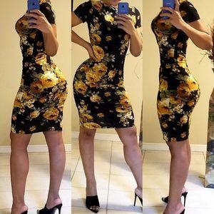 FASHION NOVA BLACK FLORAL DRESS size M